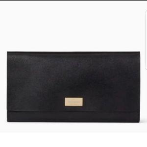 NWT KATE SPADE NEW YORK Putnam Drive PIM Wallet Smooth Leather Black Hot Pink